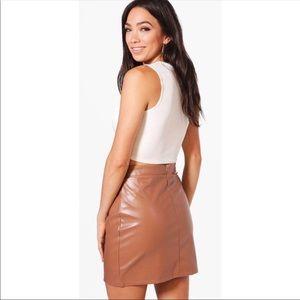 Boohoo Skirts - Bohoo Nite Scarlett A Line Leather Look Mini Skirt